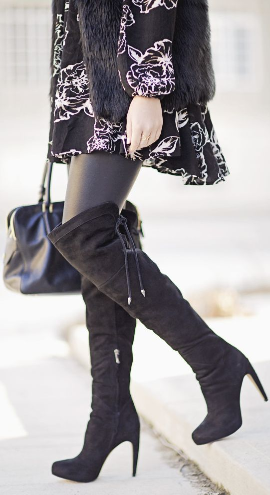 5adc300923c Black Suede Over-the-knee Boots by Stephanie STERJOVSKI