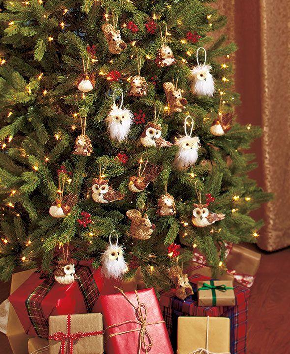 Set Of 4 Woodland Animal Christmas Tree Ornaments Owl Squirrel Bird Hedgehog Christmas Tree Ornaments Animal Ornament How To Make Ornaments