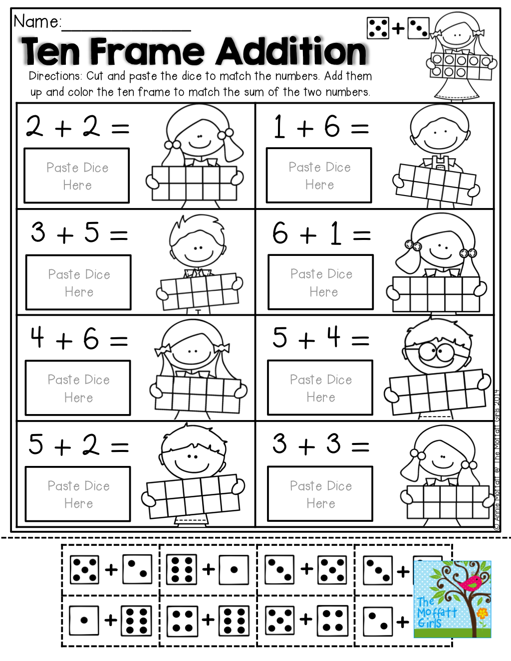 Uncategorized Ten Frames Worksheets ten frame addition with dominos facts and frames fun super effective