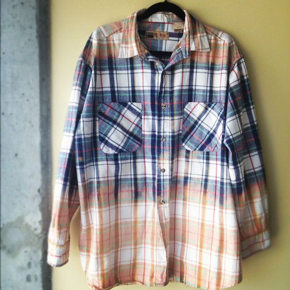 Grunge Bleach Blue and Orange Bleached Flannel Shirt ...