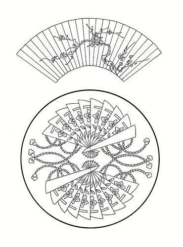 East Asian Designs Fans Japanese Embroidery Coloring Pages