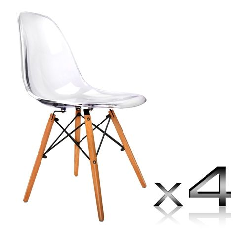 Replica Eames DSW Chairs   Transparent Clear   Set Of 4