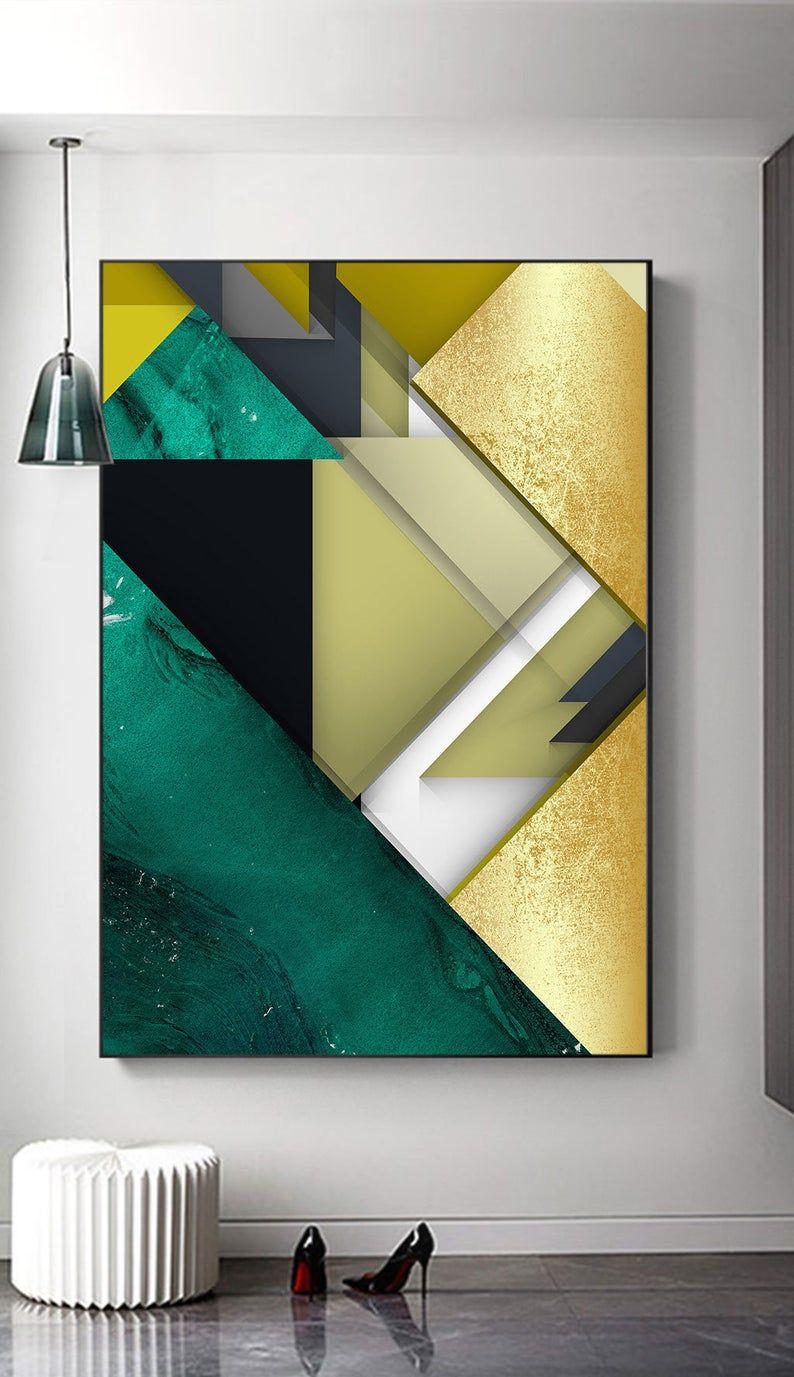 Green Black Gold Foil Minimalist Geometric Printable Etsy Geometric Printable Abstract Abstract Geometric Art