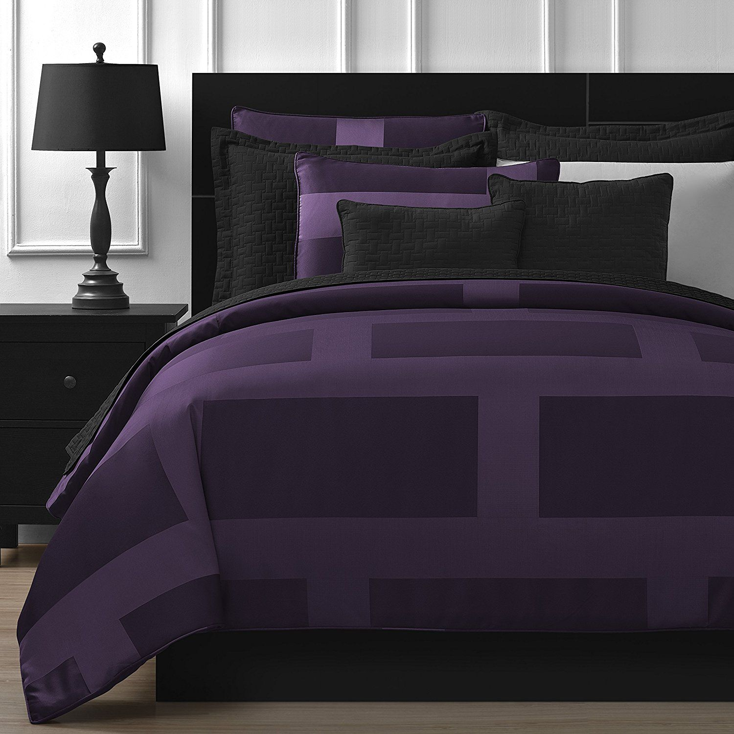 damask queen bed il sets bedding zoom fullxfull purple chevron listing