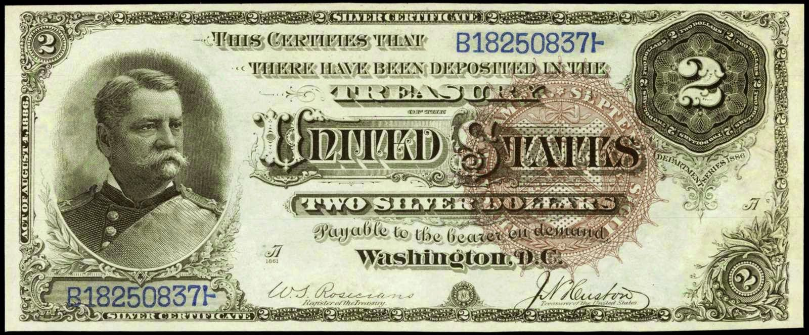 Paper money of the united states 1886 two dollar silver paper money of the united states 1886 two dollar silver certificate hancock note large xflitez Choice Image