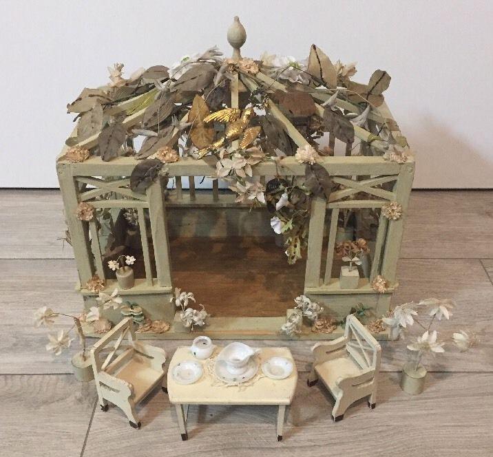 Puppenstube Jugendstil Garten Pavillon Puppe Zubehor Antik