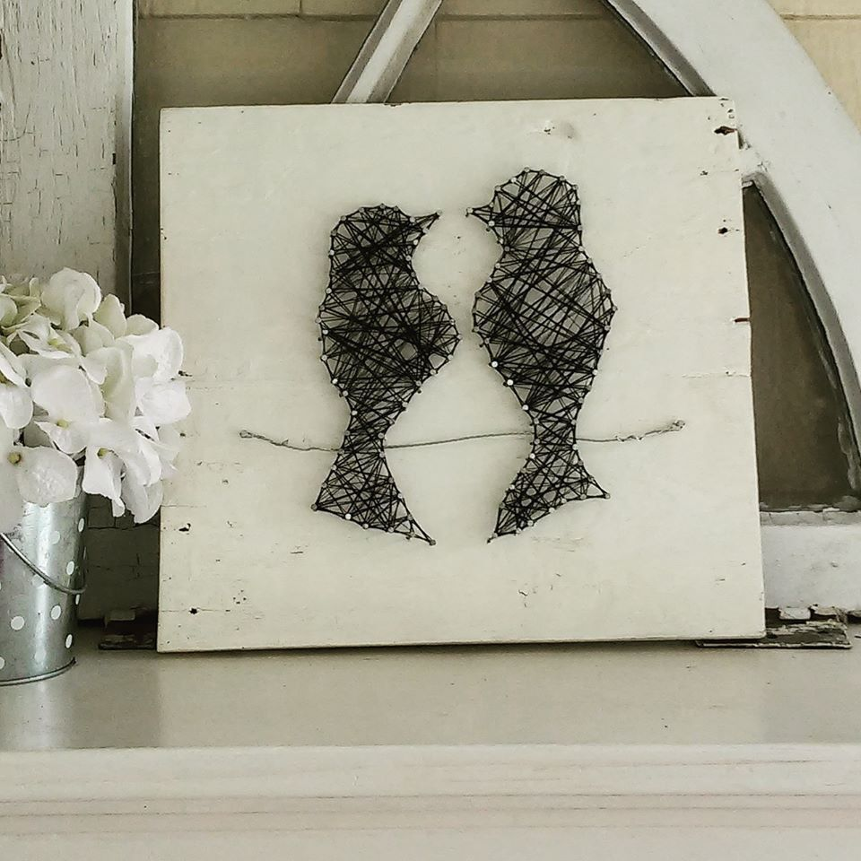 Love Birds String Art | String art, Bird and Craft