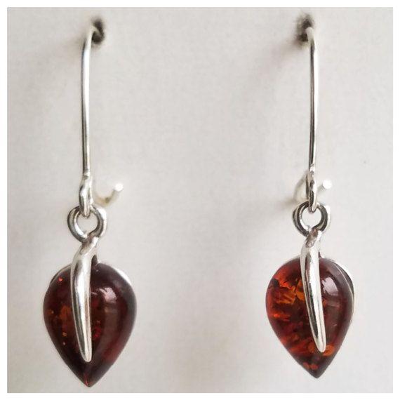 Amber Earrings  Silver drop earrings  Genuine Amber by AnnTig