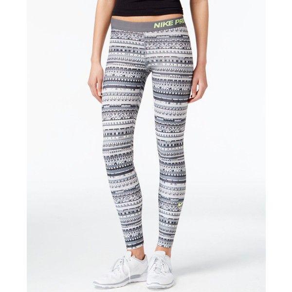 Nike Pro Hyperwarm Printed Dri-fit Leggings (130 BRL) ❤ liked on Polyvore featuring pants, leggings, white leggings, print pants, white legging pants, dri fit leggings and patterned leggings