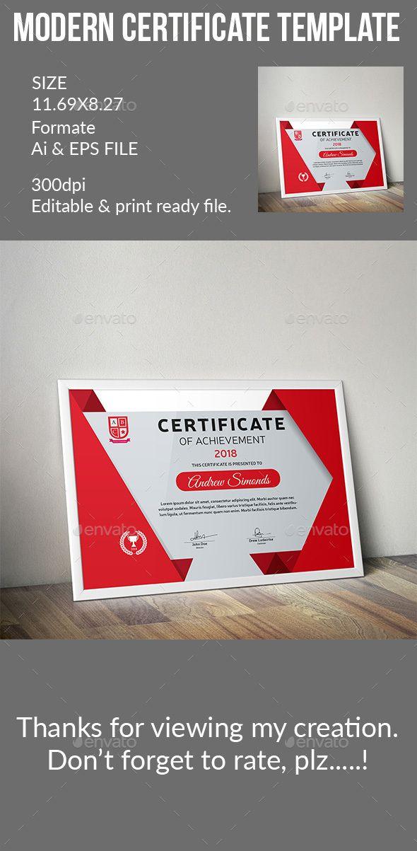 Certificate Template Vector Eps Ai Illustrator Certificate
