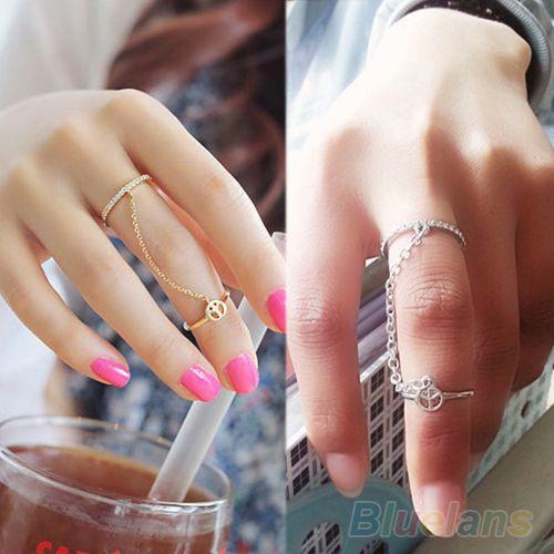 Hot New moda ouro fino cadeia simples amor charme cristal anel duplo 02KH