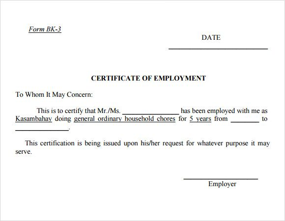 Employment Certificate Template Download Free Documents Pdf Job