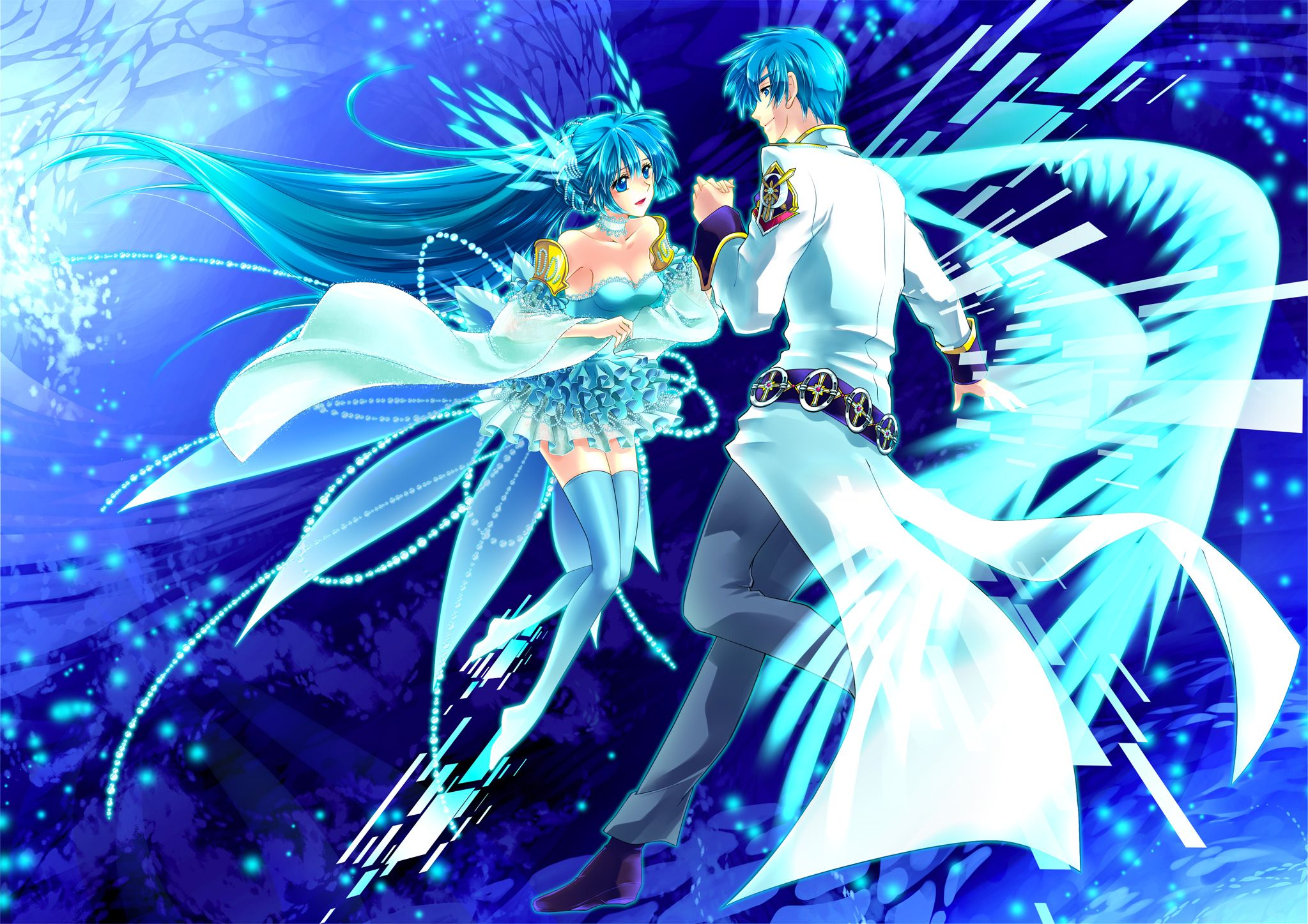 Download Dancing Anime Blue Wallpaper 2047x1447 Full HD