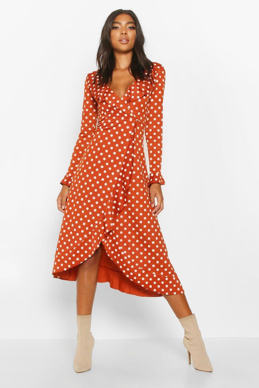 Tall Polka Dot Ruffle Midi Dress Boohoo Ruffle Midi Dress Midi Dress Midi Ruffle Dress [ 1500 x 1000 Pixel ]