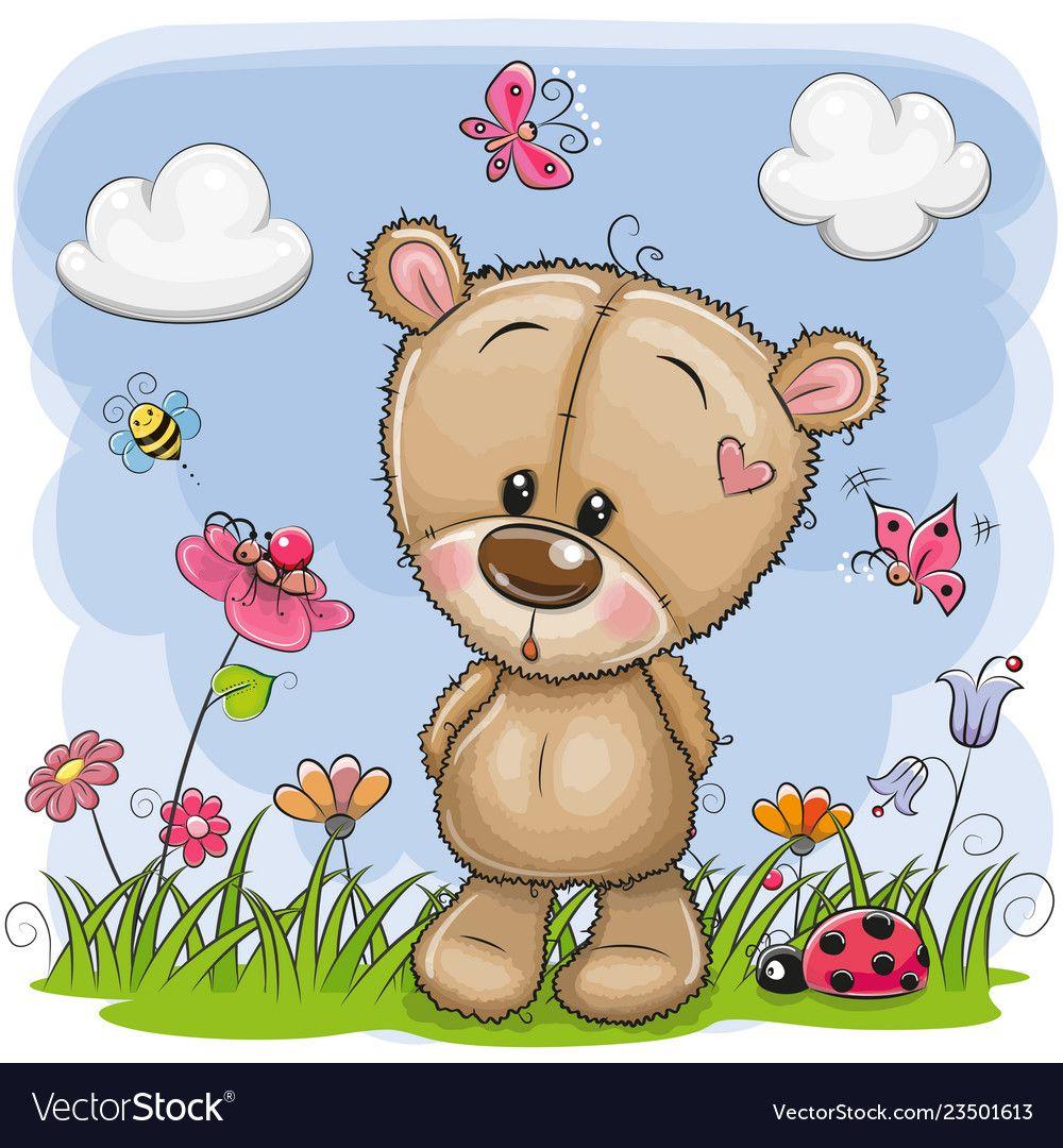 Cute Cartoon Teddy Bear On A Meadow Royalty Free Vector Teddy Bear Images Cartoon Lion Tatty Teddy