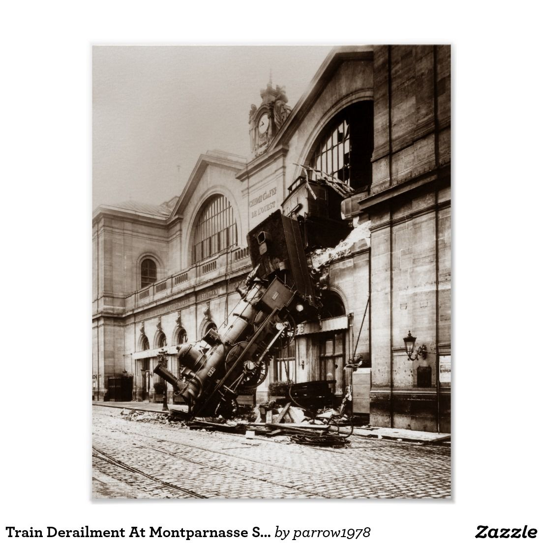 Train Derailment At Montparnasse Station - 1895 Poster
