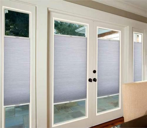 French Door Blackout Cellular Shades Enclosed Blinds