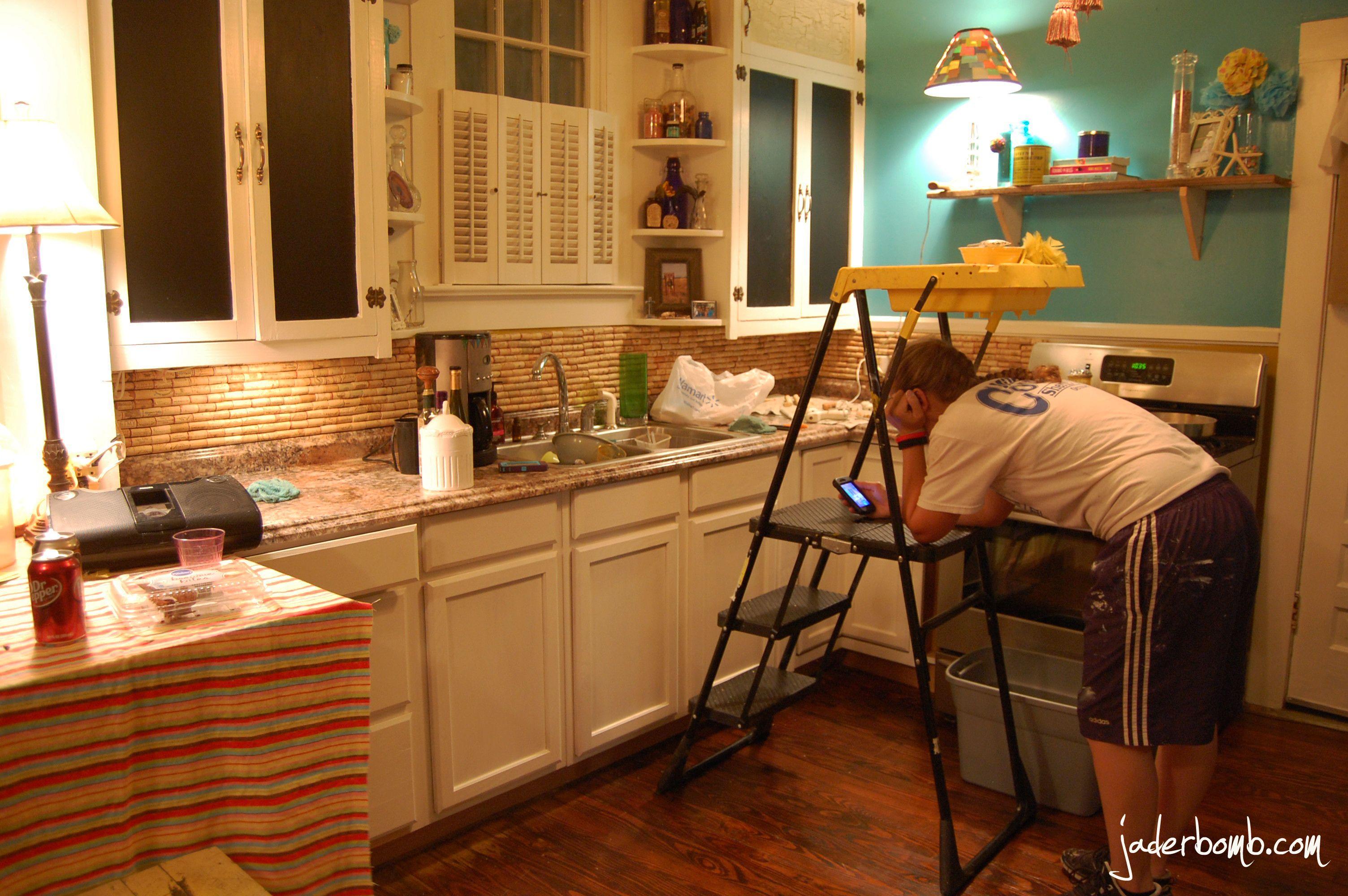 This customdesigned kitchen desk area features plenty of