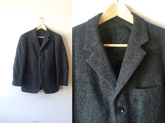 Sale! 1960s Harris Tweed Charcoal Grey Sportcoat http://etsy.me/29B5aOt  via @Etsy #menswear #mensfashion #vintage