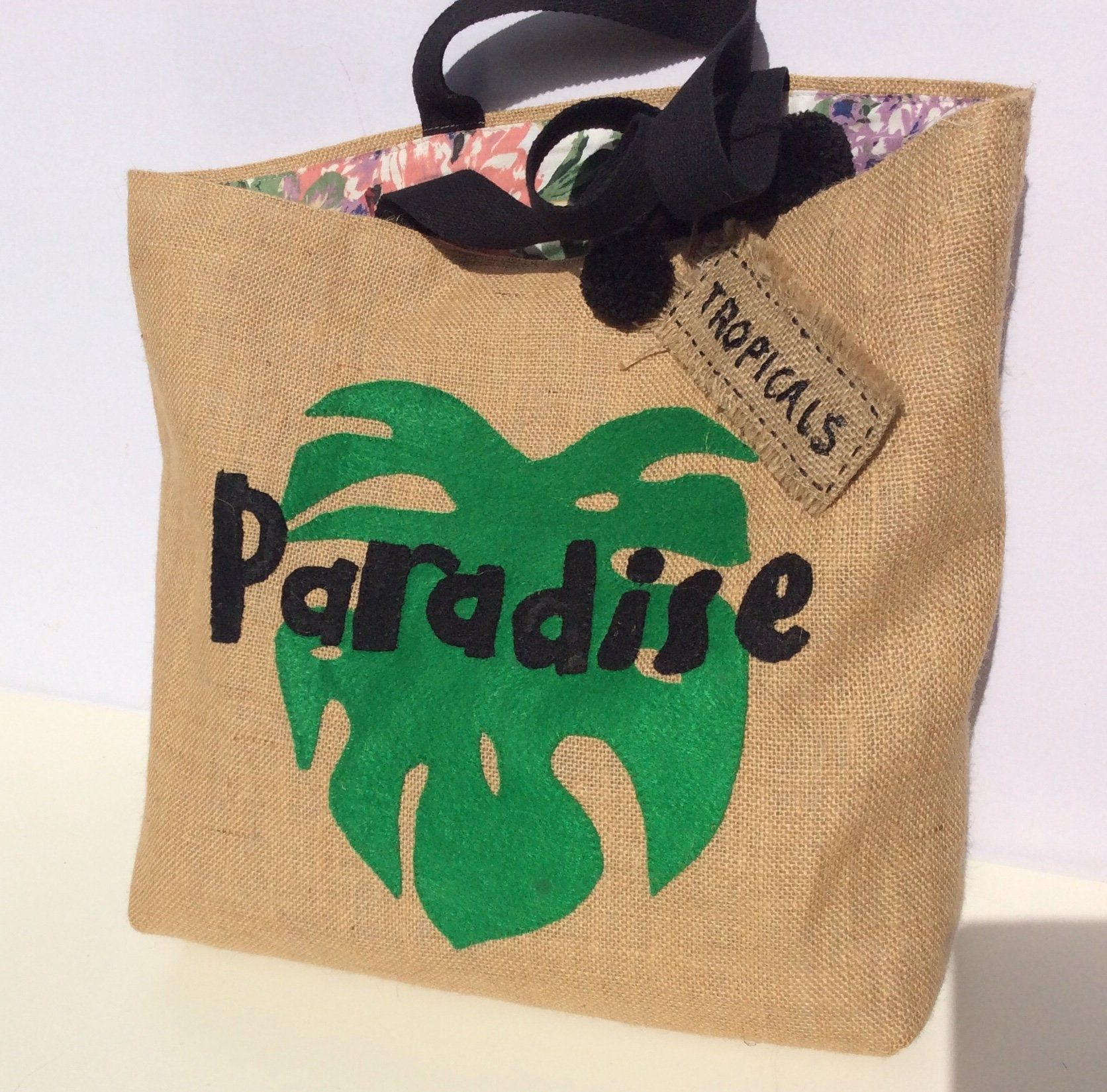 Summer jute tote bag, hand embroidered with tropical pattern, andmade, boho style tote bag #tropicalpattern