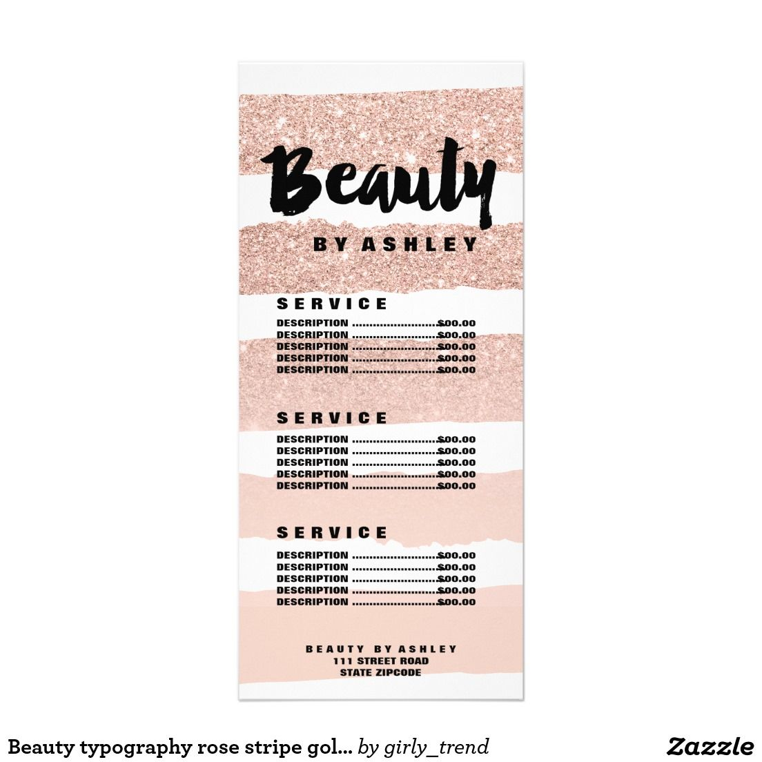 Beauty typography rose stripe gold price list rack card | Business ...