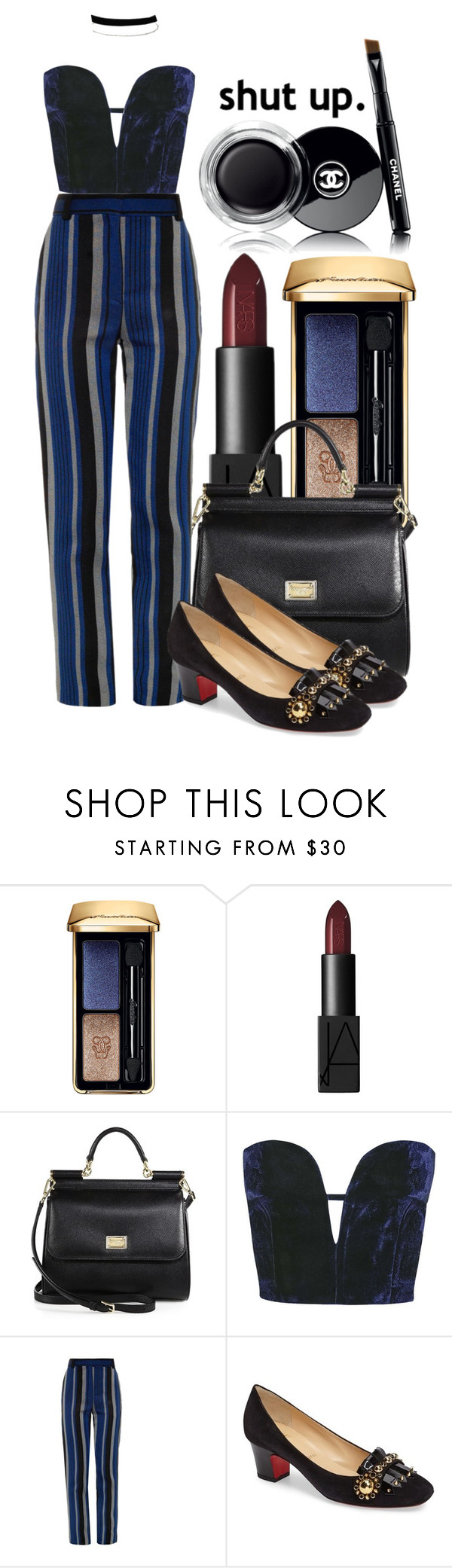 """Sin título #193"" by sheeriogirl ❤ liked on Polyvore featuring Guerlain, NARS Cosmetics, Dolce&Gabbana, Topshop, Proenza Schouler, Christian Louboutin, Miss Selfridge and Chanel"
