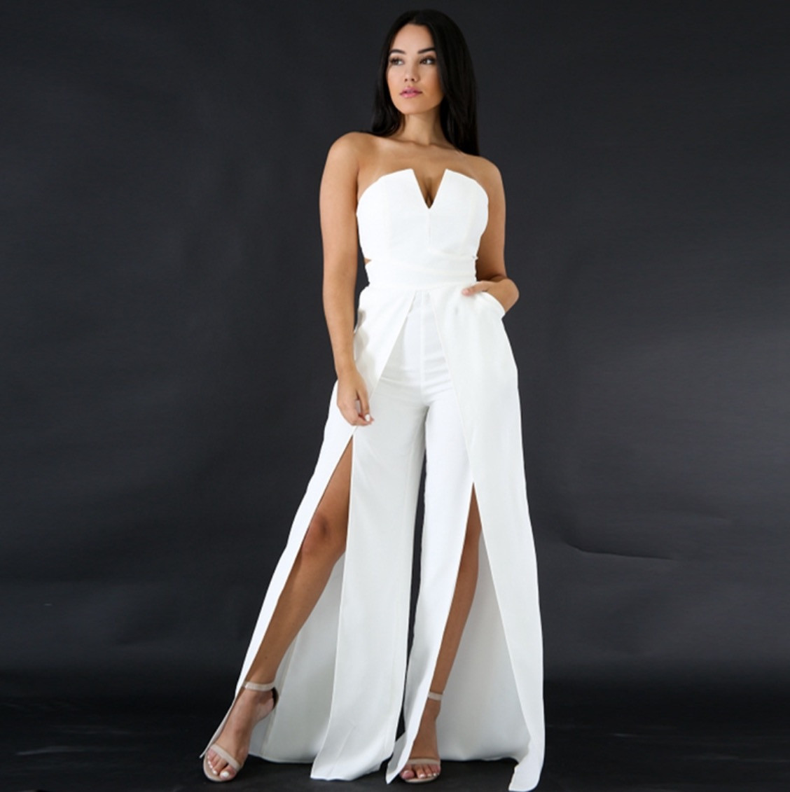38df9e88027a Petalsfashionz.com Quick shipping low prices women s rompers   jumpsuits  full-length jumpsuit sexy off the shoulder bodycon romper high split  jumpsuit Item ...
