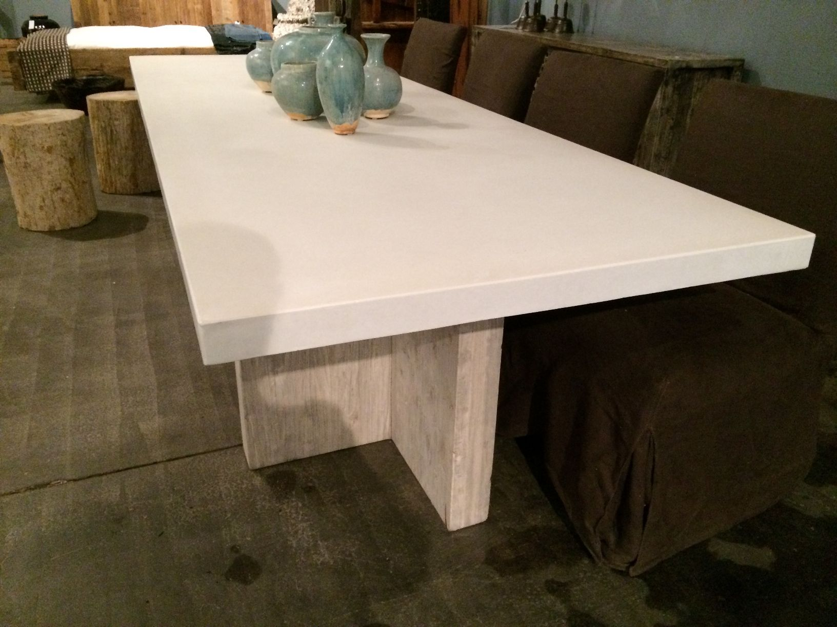 Long Concrete And Reclaimed Elm Dining Table Dining Table Stone