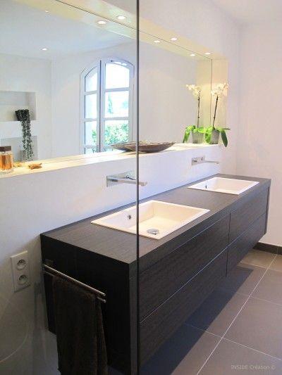 Salle de bain- Lavabo double vasque suspendu | SDB ...