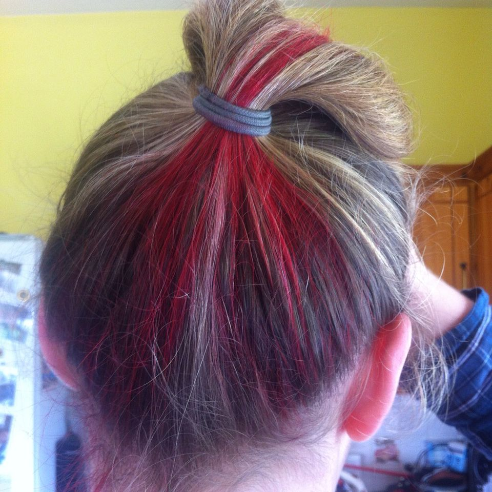 Bottom Layer Of Hair At The Back Of The Head Dyed Red Hair Hair Color Dyed Hair