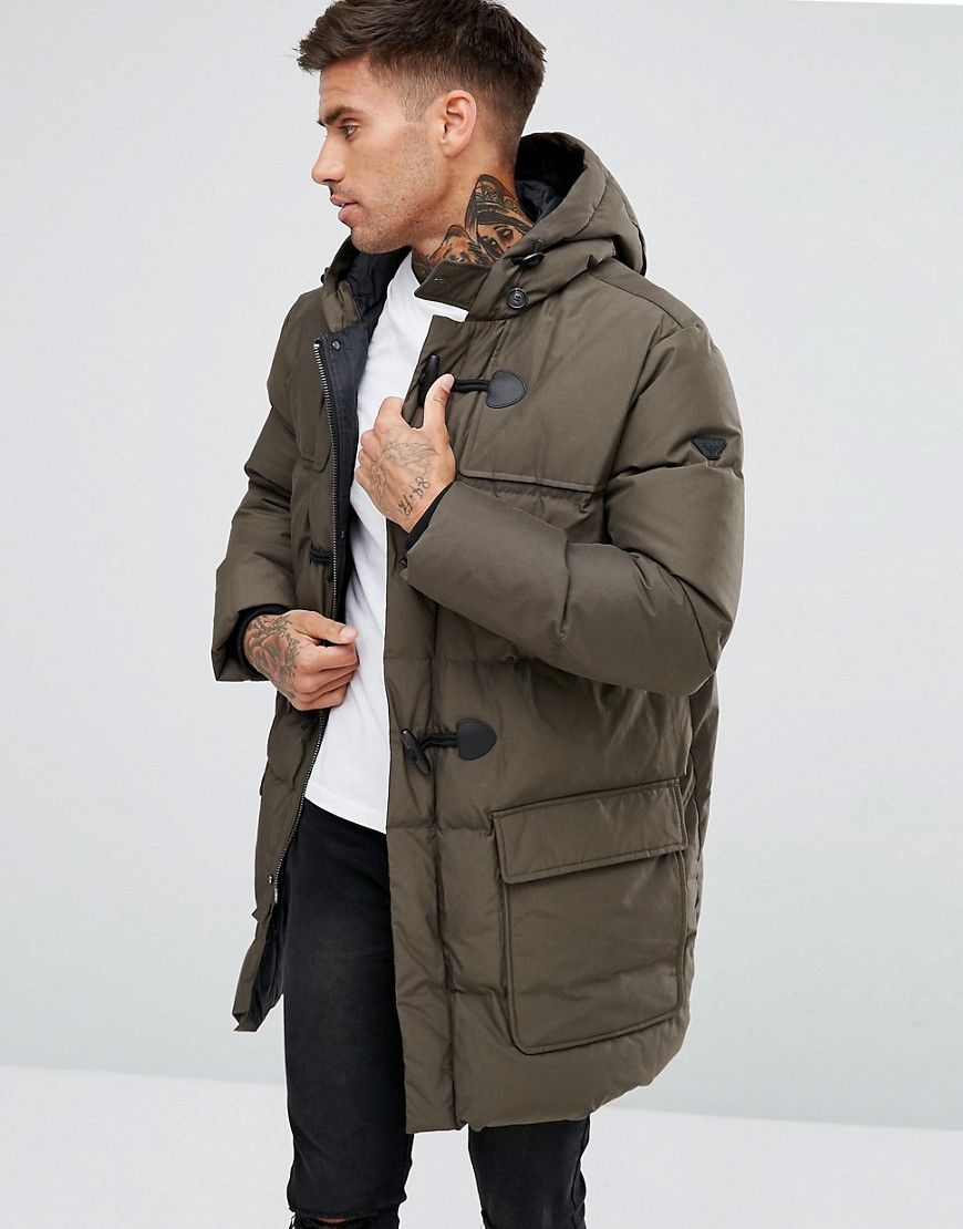 Armani Jeans Down Padded Hooded Duffle Coat Dark Green - Green. Men With  StyleMale ...