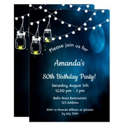 80th Birthday Party Invitation Romantic Blue Moon