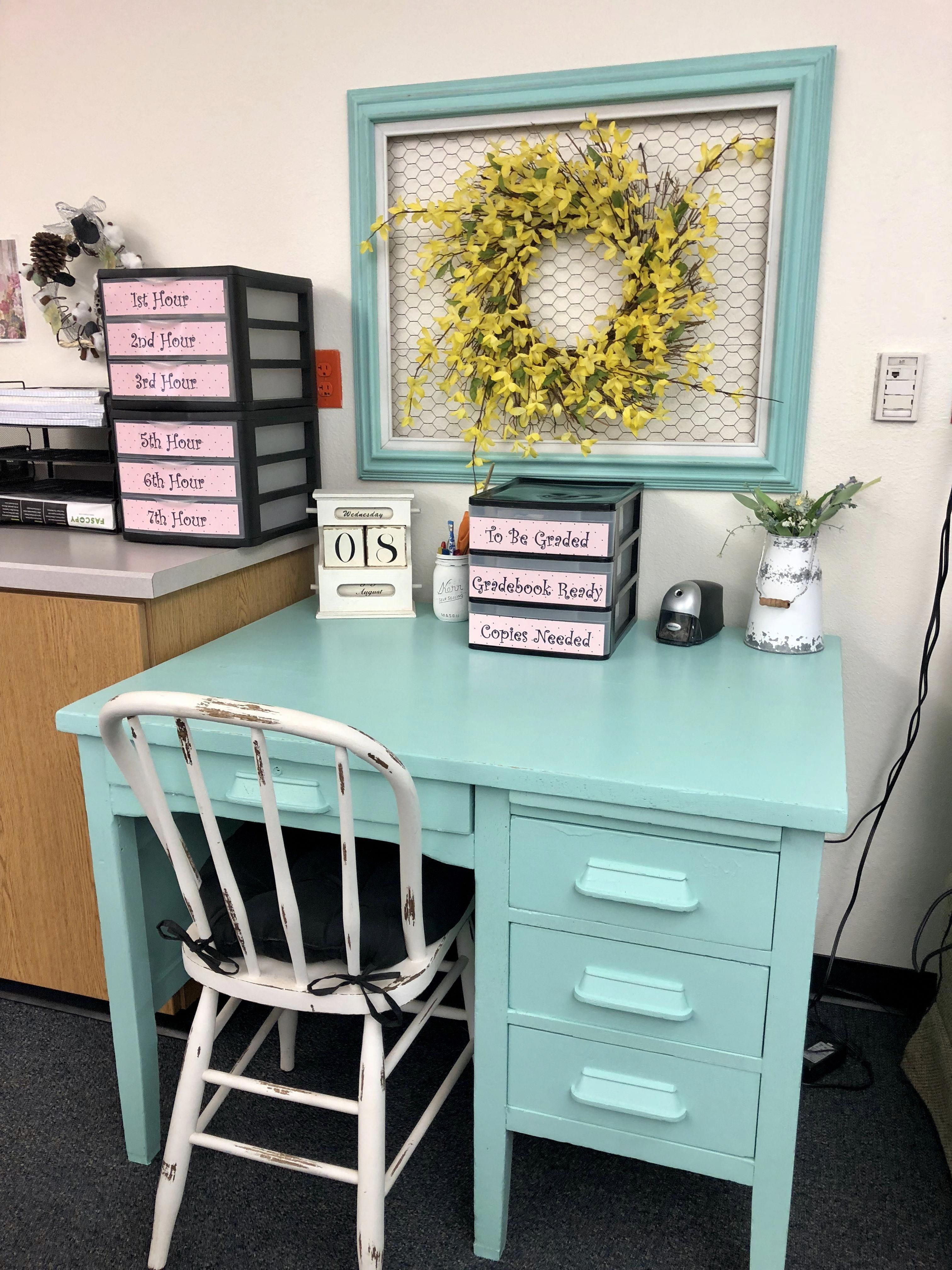 My student aides desk area for grading, sorting, filing and working on homework at.  Farmhouse classroom decor.