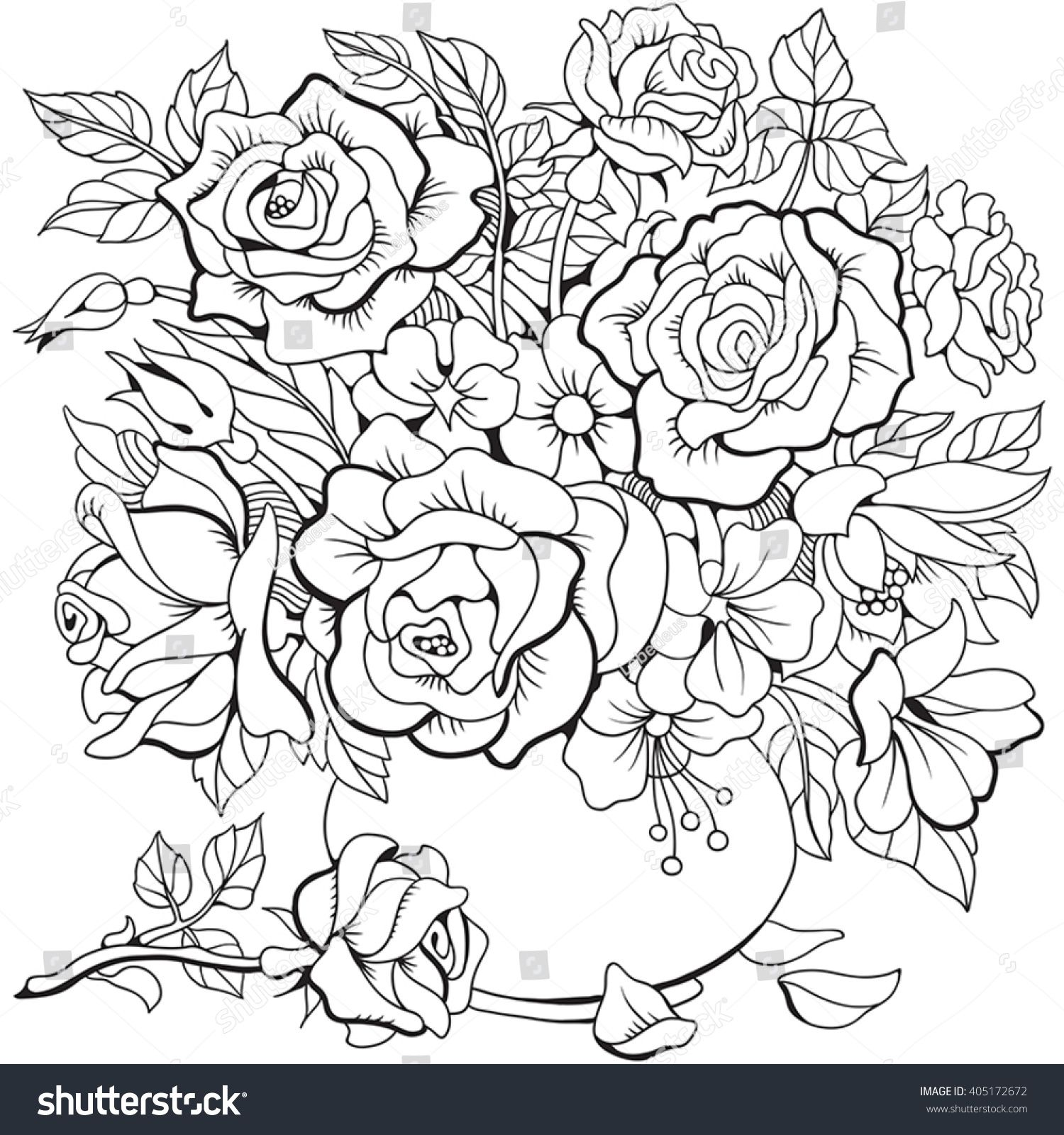 Stock Vector Bouquet Of Different Flowers Coloring Page 405172672