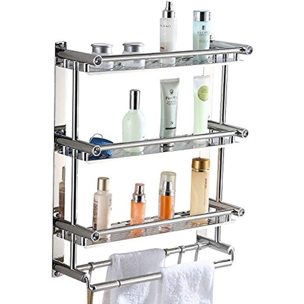 New Bathroom Shelves Shelf Rack Aiyoo Towel With Hooks 3 Tier Wall Mounted Steel Aiy00 Bathroom Storage Racks Bathroom Shelving Unit Bathroom Shelves