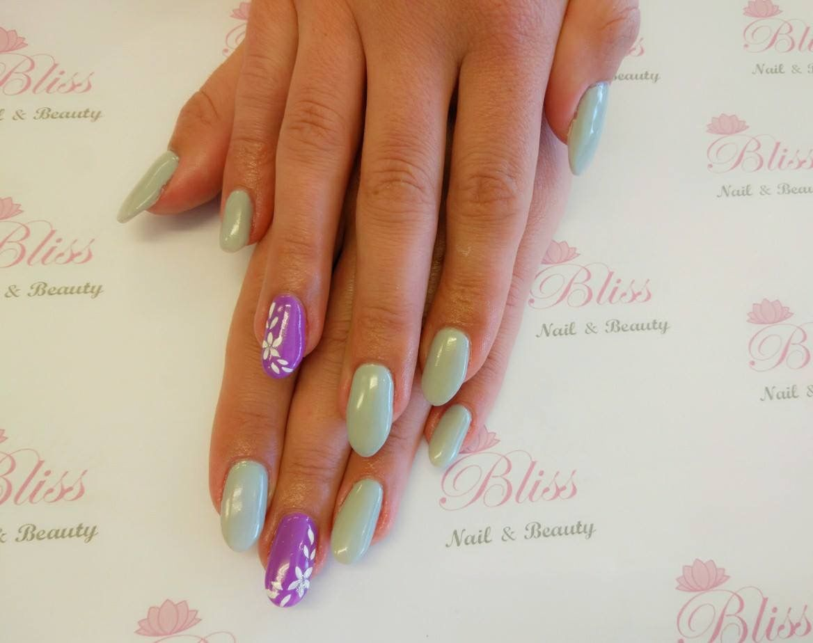 Gel enhancement with floral design | Bliss Nail & Beauty | Pinterest ...