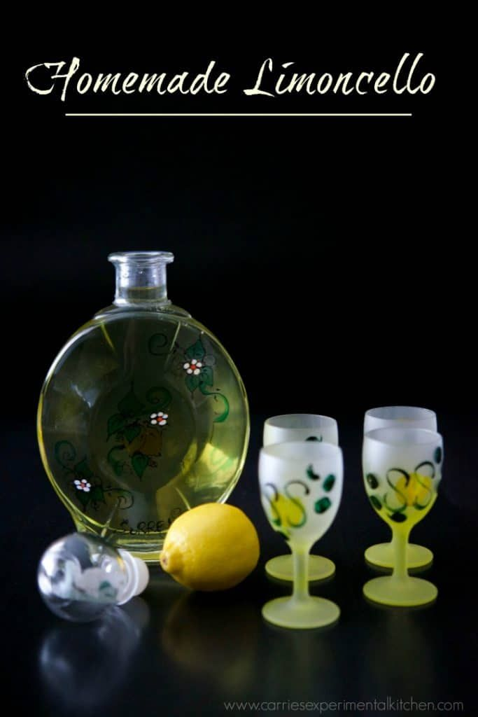 Homemade limoncello, a lemon flavored liquor, is easy to make at home; though does require a bit of resting time. It also makes a nice gift.