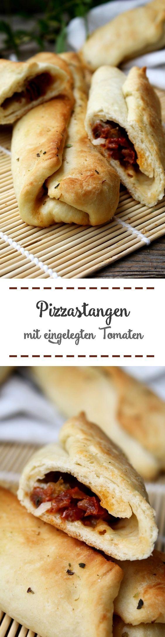 Pizzastangen mit eingelegten Tomaten und Mozzarella - Der perfekte EM-Snack #hefeteigfürpizza