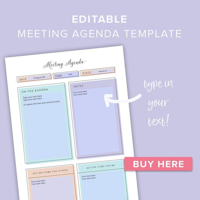 Free Stylish Feminine Printable Meeting Agenda Template Meeting Agenda Template Meeting Agenda Agenda Template