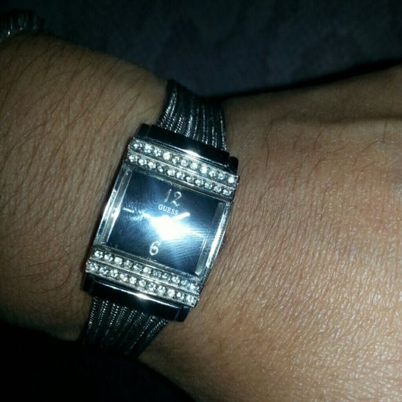 SOLD!!! Guess silver watch!! Good condition...6inches long.....no missing diamonds..needs battery...small size Guess Jewelry