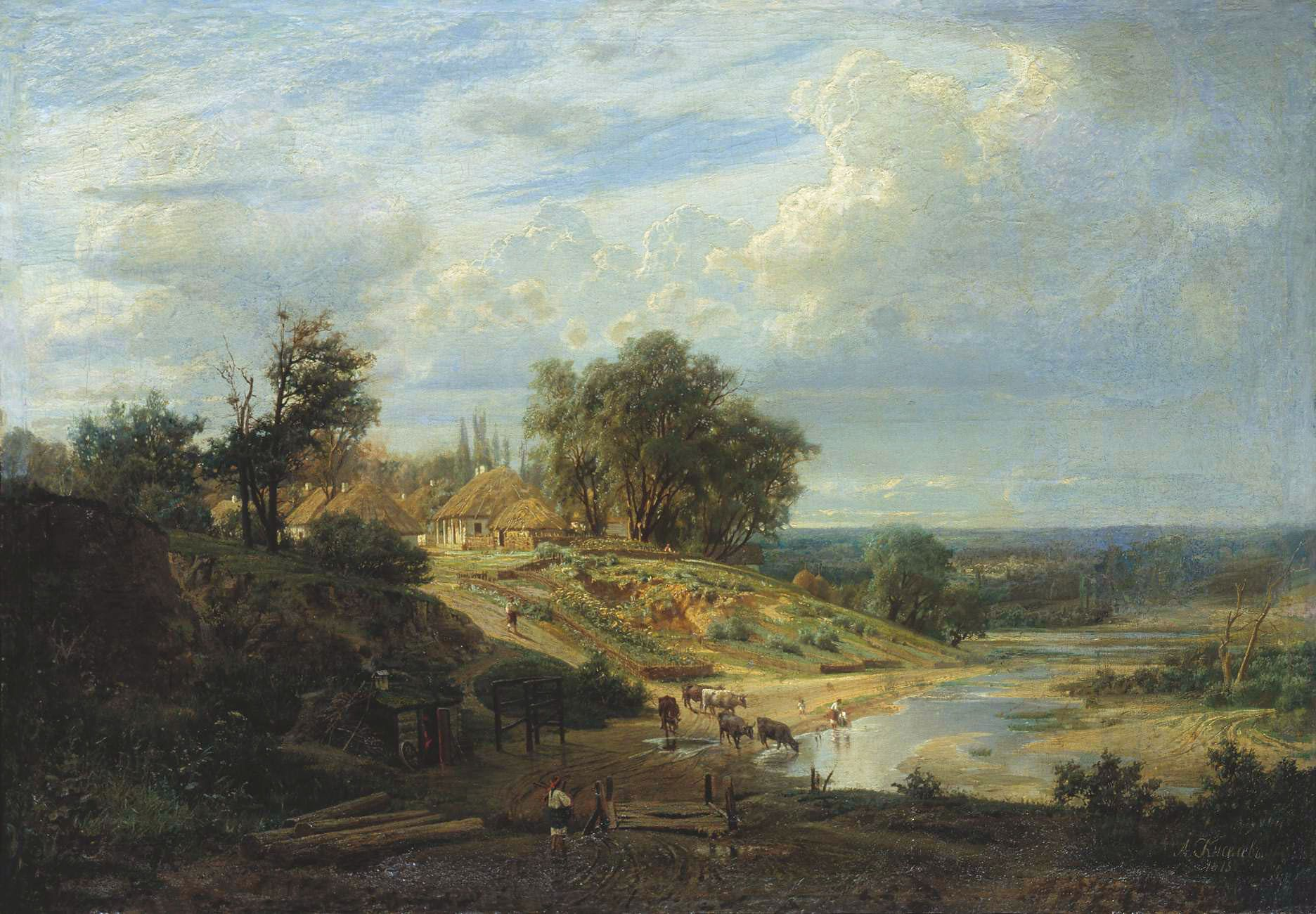 Peasant Village 1872 1300 Oil Painting Landscape Landscape Paintings Landscape Artist