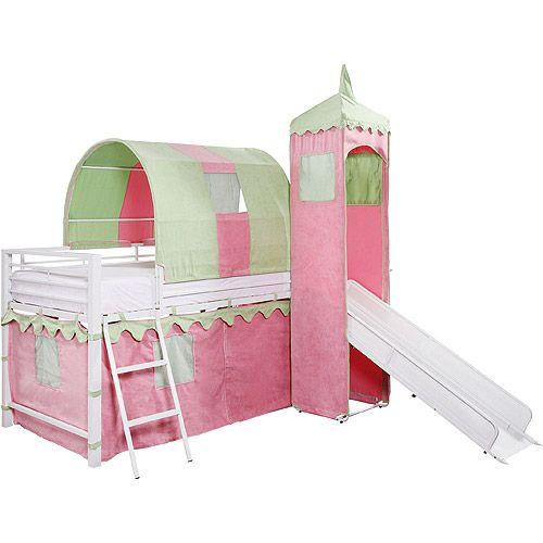 Best Girl S Castle Tent Loft Bed W Slide Under Bed Storage 400 x 300