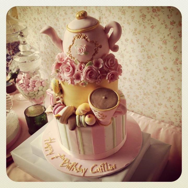 English tea party birthday cake