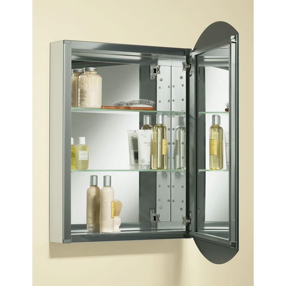 KOHLER Archer 20 In. W X 31 In. H Single Door Mirrored Recessed Medicine  Cabinet In Anodized Aluminum K 3073 NA   The Home Depot