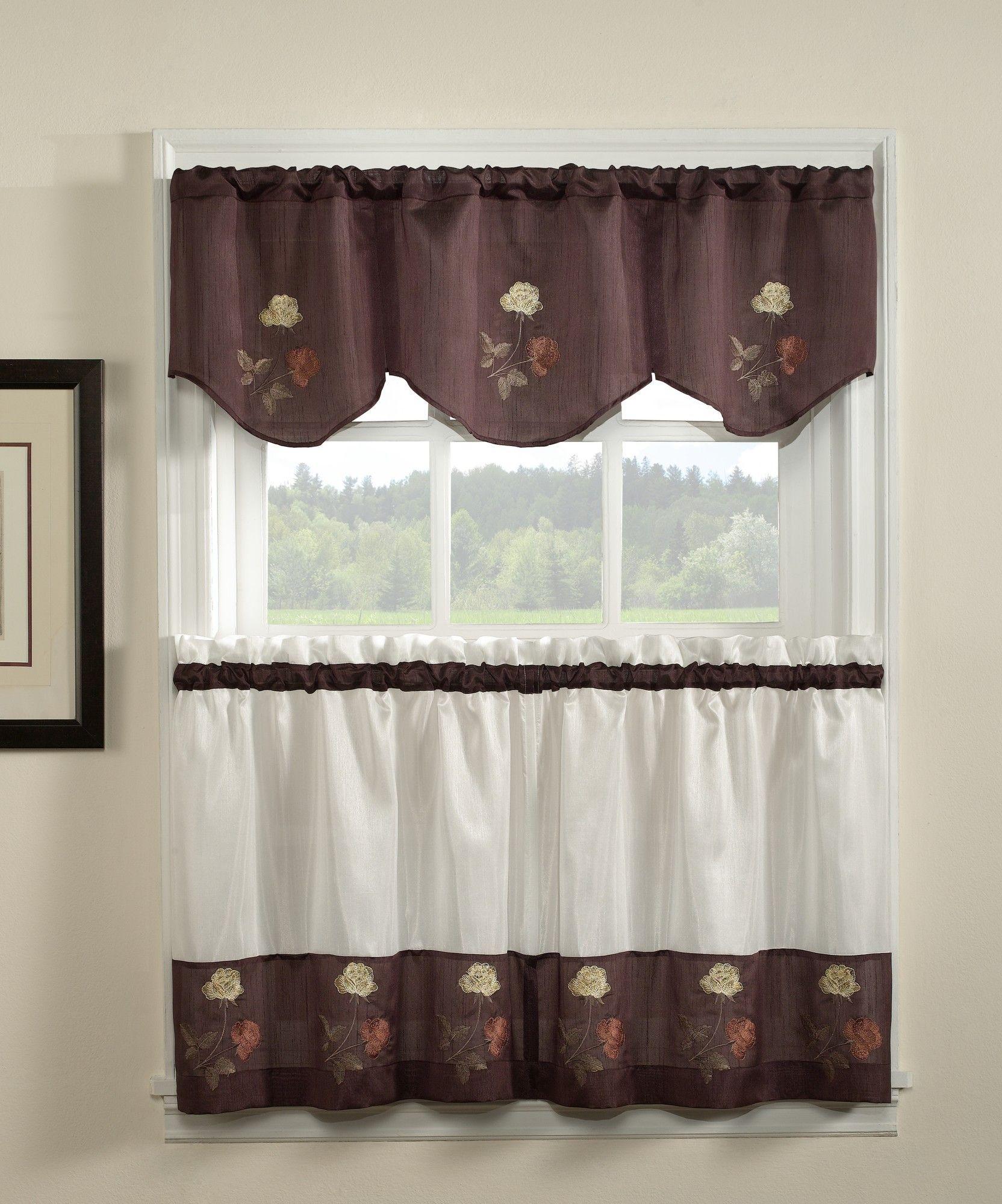 Rose 58 compwin 3 piece kitchen curtains set