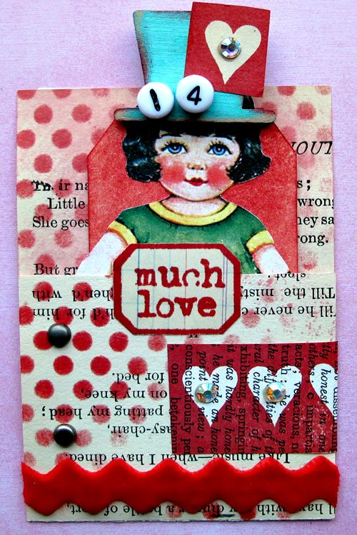 ATC Project 2014 Pocket Valentine ATC made with love by Sharon Wisely
