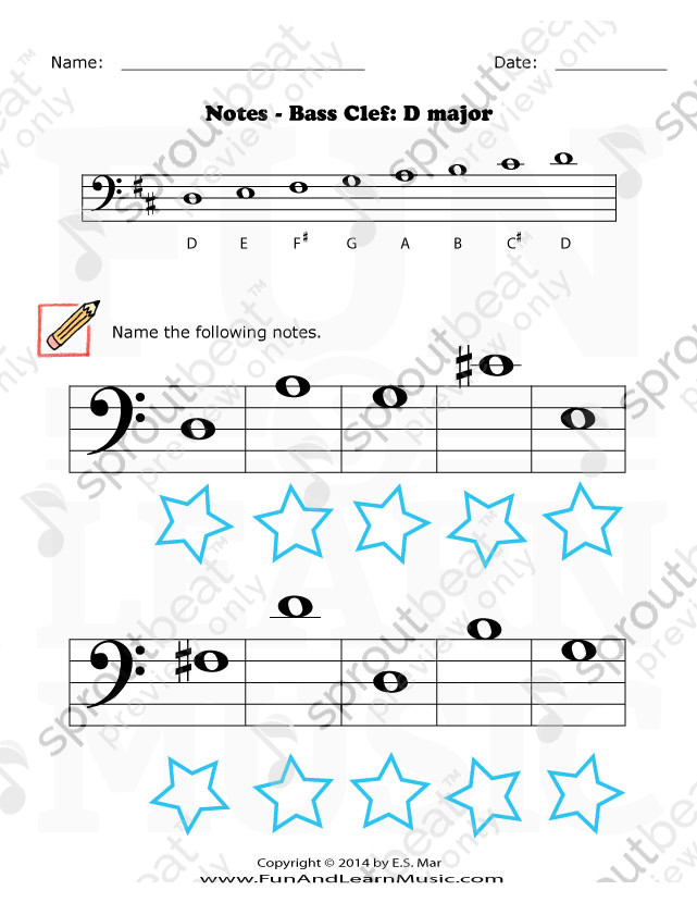 Bass Clef D3 D4 Music Worksheets Music Writing Bass Clef Notes