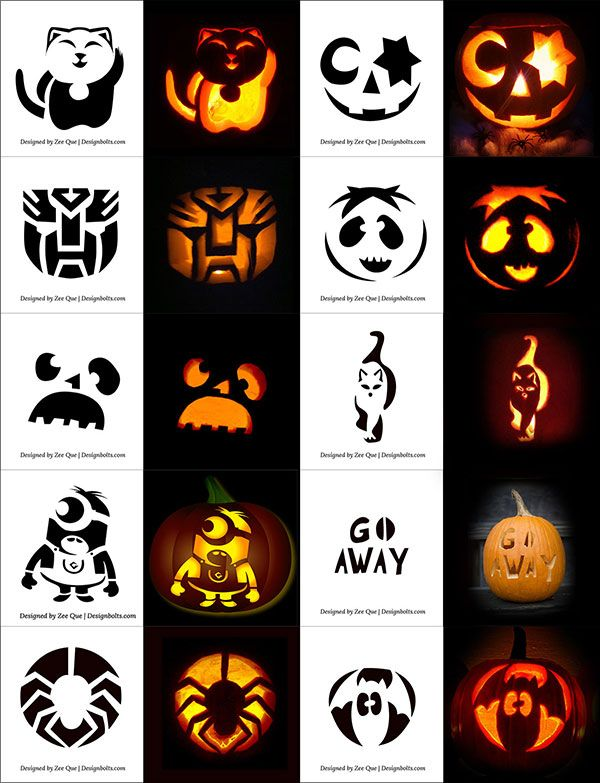 10-Cute,-Funny,-Cool--Easy-Halloween-Pumpkin-Carving-Patterns - easy halloween pumpkin ideas