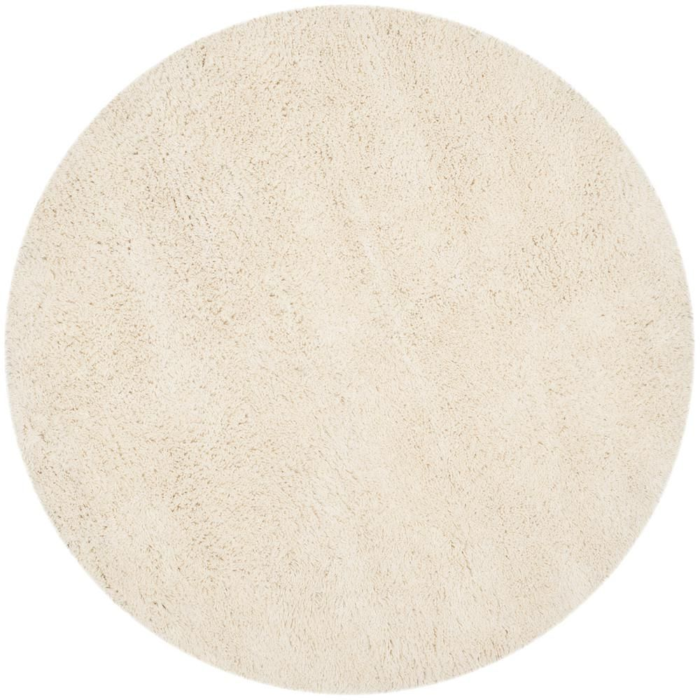 Safavieh Classic Shag White 8 Ft X 8 Ft Round Area Rug White