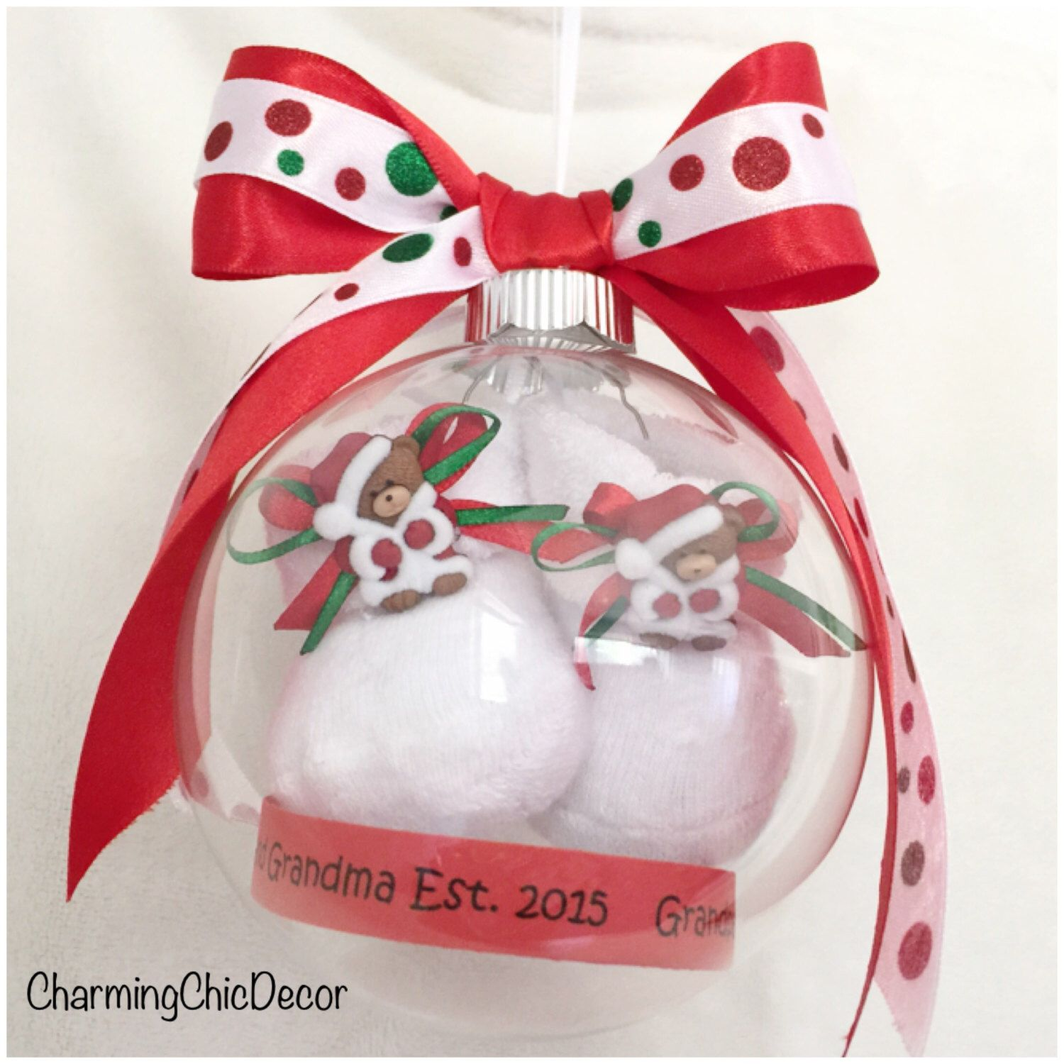 Christmas Pregnancy Announcement Ornament with Floating Baby Booties